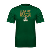 Performance Dark Green Tee-Game. Set. Match. Tennis Design