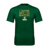 Performance Dark Green Tee-Game. Set. Match. Tennis Design
