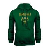 Dark Green Fleece Hood-Basketball Stacked Design