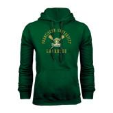 Dark Green Fleece Hood-Lacrosse Arched Cross Sticks Design