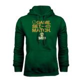 Dark Green Fleece Hood-Game. Set. Match. Tennis Design