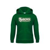 Youth Dark Green Fleece Hoodie-Barons - Franciscan University