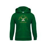 Youth Dark Green Fleece Hoodie-Lacrosse Arched Cross Sticks Design