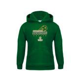 Youth Dark Green Fleece Hoodie-Stacked Soccer Design