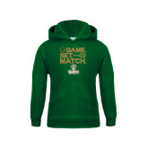 Youth Dark Green Fleece Hood-Game. Set. Match. Tennis Design