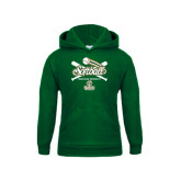 Youth Dark Green Fleece Hoodie-Softball Crossed Bats Design