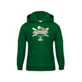 Youth Dark Green Fleece Hoodie-Softball Crossed Bats Design