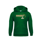Youth Dark Green Fleece Hoodie-Rugby Ball Design