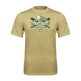 Performance Vegas Gold Tee-Softball Crossed Bats Design