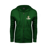 ENZA Ladies Dark Green Fleece Full Zip Hoodie-Barons - Franciscan University - Official Logo