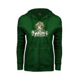 ENZA Ladies Dark Green Fleece Full Zip Hoodie-Barons - Franciscan University - Official Logo