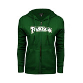 ENZA Ladies Dark Green Fleece Full Zip Hoodie-Arched Franciscan