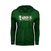ENZA Ladies Dark Green Fleece Full Zip Hoodie-Barons - Franciscan University