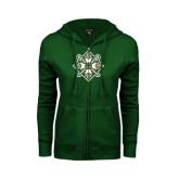 ENZA Ladies Dark Green Fleece Full Zip Hoodie-Shield