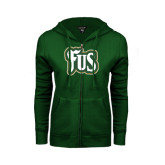 ENZA Ladies Dark Green Fleece Full Zip Hoodie-FUS