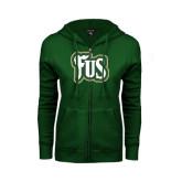 ENZA Ladies Dark Green Fleece Full Zip Hoodie-FUS