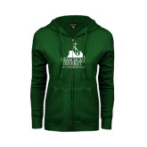 ENZA Ladies Dark Green Fleece Full Zip Hoodie-Franciscan University Mark