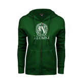 ENZA Ladies Dark Green Fleece Full Zip Hoodie-Alumni - Seal