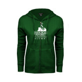 ENZA Ladies Dark Green Fleece Full Zip Hoodie-Alumni - University Mark