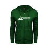 ENZA Ladies Dark Green Fleece Full Zip Hoodie-Franciscan University Mark - Flat