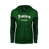 ENZA Ladies Dark Green Fleece Full Zip Hoodie-Rugby