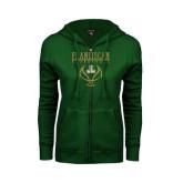 ENZA Ladies Dark Green Fleece Full Zip Hoodie-Basketball Stacked Design
