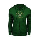 ENZA Ladies Dark Green Fleece Full Zip Hoodie-Lacrosse Arched Cross Sticks Design
