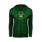 ENZA Ladies Dark Green Fleece Full Zip Hoodie-Lacrosse Arched Cross Sticks Design