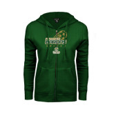 ENZA Ladies Dark Green Fleece Full Zip Hoodie-Stacked Soccer Design