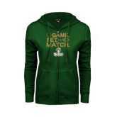 ENZA Ladies Dark Green Fleece Full Zip Hoodie-Game. Set. Match. Tennis Design