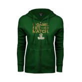 ENZA Ladies Dark Green Fleece Full Zip Hoodie-Game. Set. Match. Tennis Design
