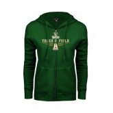 ENZA Ladies Dark Green Fleece Full Zip Hoodie-Track and Field Shoe Design