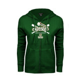 ENZA Ladies Dark Green Fleece Full Zip Hoodie-Softball Crossed Bats Design