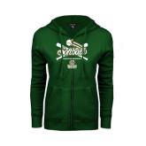 ENZA Ladies Dark Green Fleece Full Zip Hoodie-Softball Crossed Bats Design