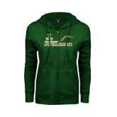 ENZA Ladies Dark Green Fleece Full Zip Hoodie-Swim and Dive Diver Design