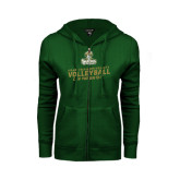 ENZA Ladies Dark Green Fleece Full Zip Hoodie-Can You Dig It - Volleyball Design