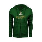 ENZA Ladies Dark Green Fleece Full Zip Hoodie-Can You Dig It - Volleyball Design