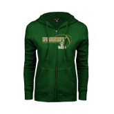 ENZA Ladies Dark Green Fleece Full Zip Hoodie-Rugby Ball Design