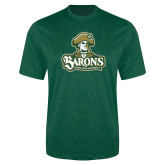 Performance Dark Green Heather Contender Tee-Barons - Franciscan University - Official Logo