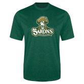 Performance Dark Green Heather Contender Tee-Barons - Franciscan University - Official Logo
