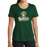 Ladies Performance Dark Green Tee-Barons - Franciscan University - Official Logo
