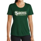 Ladies Performance Dark Green Tee-Barons - Franciscan University
