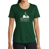 Ladies Performance Dark Green Tee-Franciscan University Mark