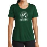 Ladies Performance Dark Green Tee-Alumni - Seal