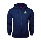 Navy Fleece Full Zip Hoodie-Barons - Franciscan University - Official Logo