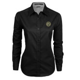 Ladies Black Twill Button Down Long Sleeve-Seal