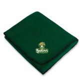 Dark Green Arctic Fleece Blanket-Barons - Franciscan University - Official Logo
