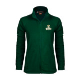 Ladies Fleece Full Zip Dark Green Jacket-Barons - Franciscan University - Official Logo
