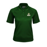 Ladies Dark Green Textured Saddle Shoulder Polo-Barons - Franciscan University - Official Logo