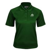 Ladies Dark Green Textured Saddle Shoulder Polo-Franciscan University Mark